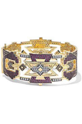 NOIR JEWELRY 14-karat gold-plated crystal bracelet