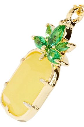 NOIR JEWELRY 14-karat gold-plated, stone and crystal hoop earrings