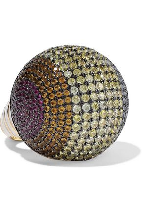 NOIR JEWELRY 14-karat gold-plated, crystal and enamel ring