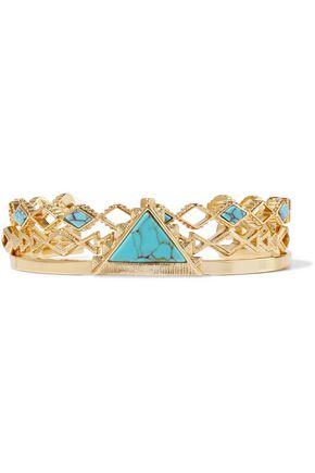 NOIR JEWELRY Set of three 14-karat gold-plated stone bracelets