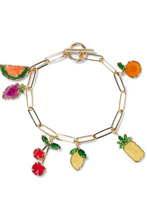 NOIR JEWELRY 14-karat gold-plated, crystal and stone bracelet