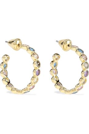 NOIR JEWELRY 14-karat gold-plated crystal hoop earrings
