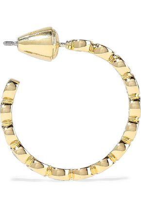 NOIR JEWELRY 14-karat gold-plated crystal hoop earrings