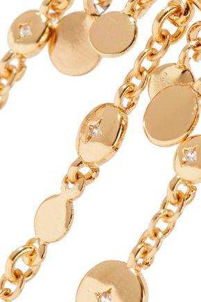 NOIR JEWELRY Zagare 14-karat gold-plated crystal earrings