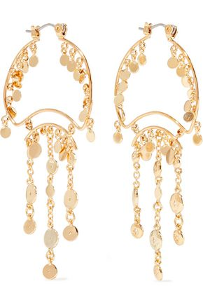 NOIR JEWELRY Zagare 14-karat gold-plated crystal earrings
