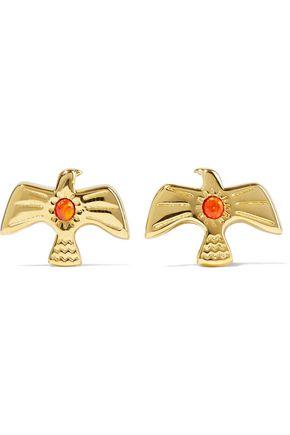 NOIR JEWELRY 14-karat gold-plated stone earrings