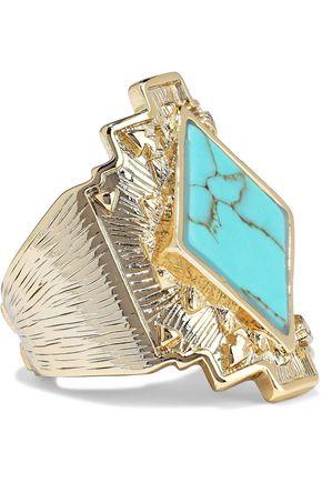 NOIR JEWELRY 14-karat gold-plated stone ring
