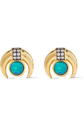NOIR JEWELRY 14-karat gold-plated, stone and crystal earrings
