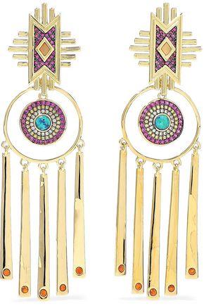 NOIR JEWELRY 14-karat gold-plated crystal earrings