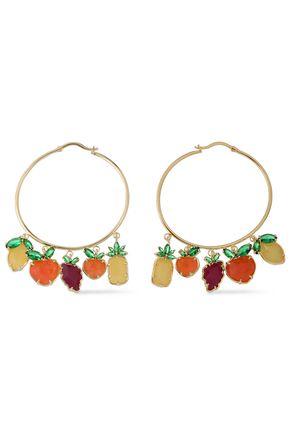 NOIR JEWELRY 14-karat gold-plated, crystal and stone hoop earrings