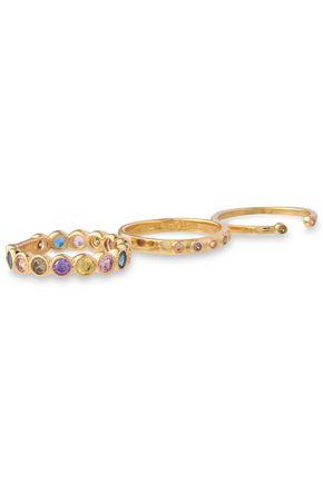 NOIR JEWELRY Set of three 14-karat gold-plated crystal rings