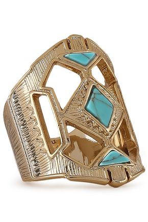 NOIR JEWELRY 14-karat gold-plated stone ring