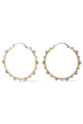 NOIR JEWELRY 14-karat gold-plated stone hoop earrings