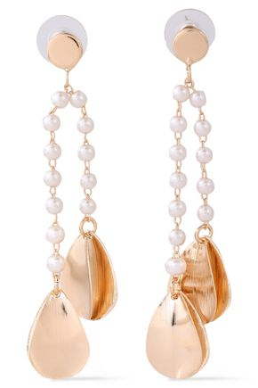 KENNETH JAY LANE Brushed gold-plated faux pearl earrings