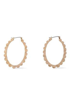 KENNETH JAY LANE Scalloped brushed 22-karat gold-plated hoop earrings