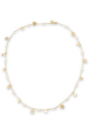 TORY BURCH Gold-tone, faux pearl and moonstone necklace