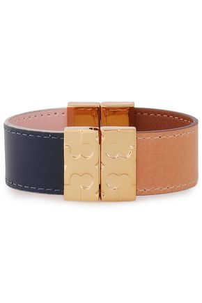 TORY BURCH Gold-tone leather bracelet