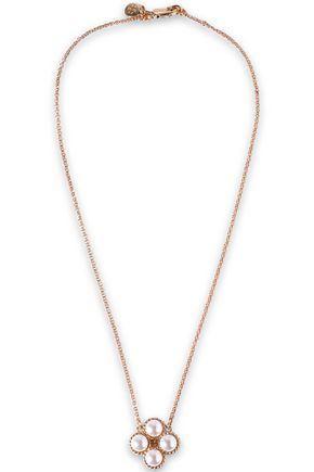 TORY BURCH Gold-tone, moonstone and faux pearl necklace