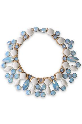 TORY BURCH Silver-tone, moonstone and raffia necklace
