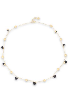 TORY BURCH Gold-tone, agate and moonstone necklace