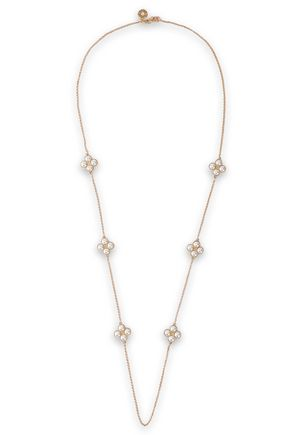 TORY BURCH Gold-tone, Swarovski crystal and moonstone necklace
