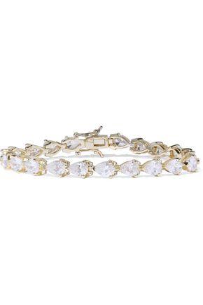 CZ by KENNETH JAY LANE Rhodium-pleated crystal bracelet