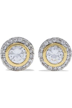 CZ by KENNETH JAY LANE Rhodium and gold-plated crystal earrings