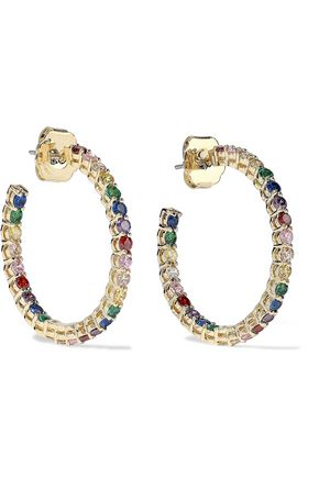 CZ by KENNETH JAY LANE 14-karat gold-plated crystal hoop earrings