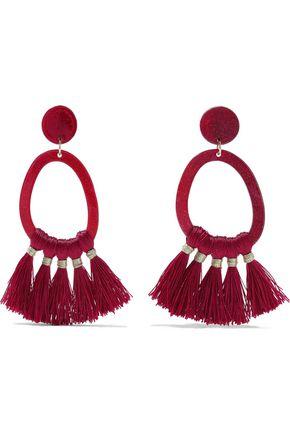 IRIS & INK Phillipa gold-tone, acetate and tassel hoop earrings