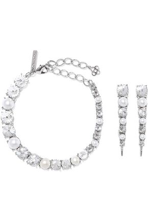 OSCAR DE LA RENTA Silver-tone, crystal and faux pearl earrings and necklace set