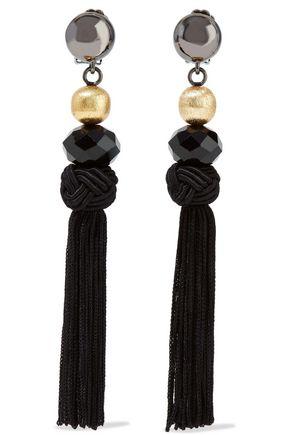 OSCAR DE LA RENTA Gunmetal and gold-tone, bead and tassel clip earrings