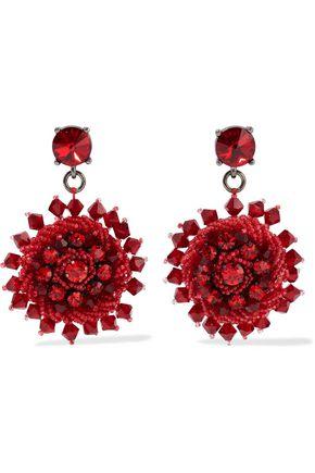 OSCAR DE LA RENTA Gunmetal-tone, crystal and bead earrings