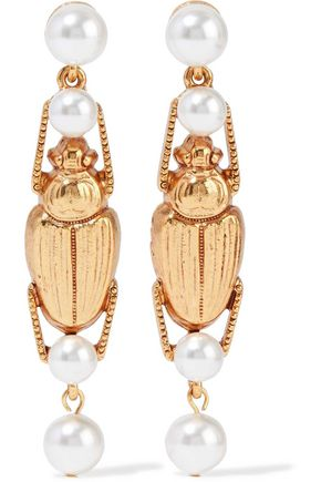 Gold Tone Faux Pearl Earrings by Oscar De La Renta