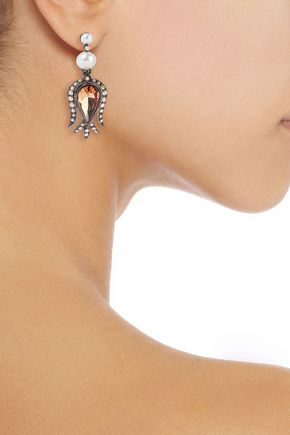 Oscar De La Renta Woman Gunmetal-Tone, Crystal And Faux Pearl Earrings Gold