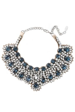 VALENTINO GARAVANI Silver-tone, satin and crystal necklace