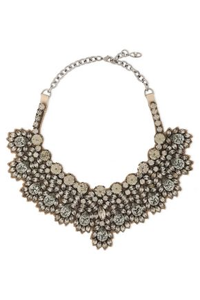 VALENTINO GARAVANI Silver-tone, satin and crystal necklace