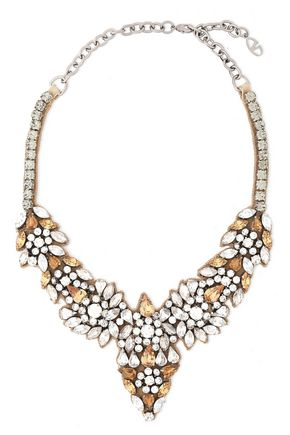VALENTINO GARAVANI Glam Flowers silver-tone, silk-satin and crystal necklace