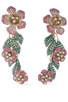 VALENTINO GARAVANI Gold-tone crystal earrings