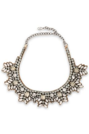 VALENTINO GARAVANI Brilliant Flowers silver-tone, silk-satin and crystal necklace