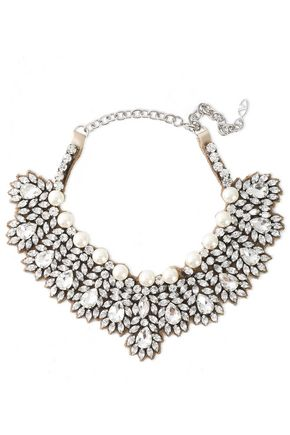 VALENTINO GARAVANI Silver-tone, crystal, faux pearl and satin necklace