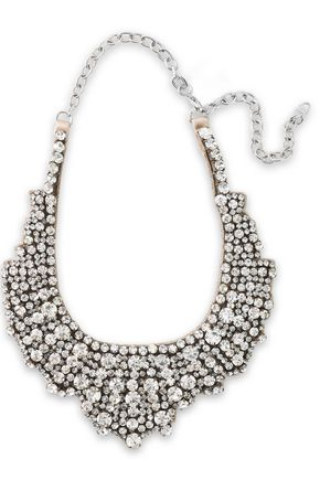 VALENTINO GARAVANI Silver-tone, crystal and satin necklace