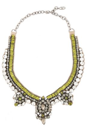 VALENTINO GARAVANI Gunmetal-tone crystal and satin necklace