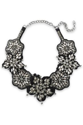 VALENTINO GARAVANI Floral-appliquéd, crystal and satin necklace
