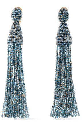 OSCAR DE LA RENTA Gold-tone beaded clip earrings