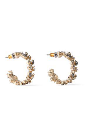 KENNETH JAY LANE Gold-plated crystal hoop earrings