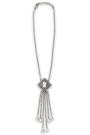 CHRISTOPHER KANE Silver-tone crystal fringed necklace