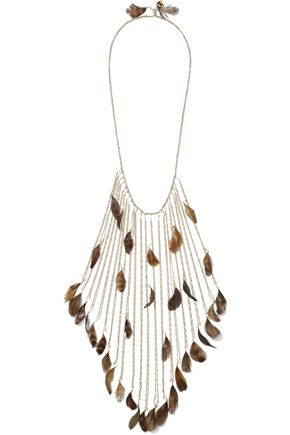 ROSANTICA Selva gold-tone, bead and feather necklace
