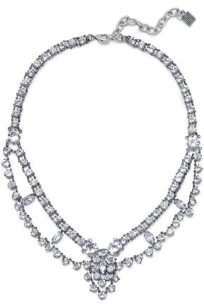 DANNIJO Clementine oxidized silver-plated crystal choker