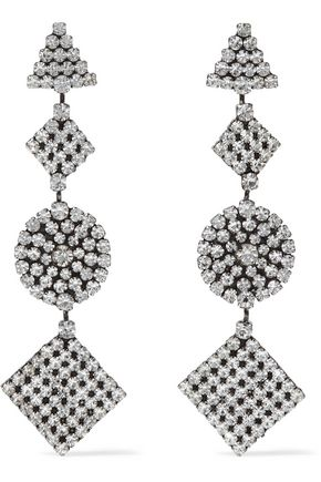 DANNIJO Fetch oxidized silver-plated crystal earrings