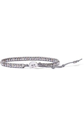 CHAN LUU Sterling silver, cord and silver-plated hematine bracelet